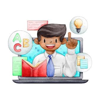 Cursos en línea con profesor ilustrado