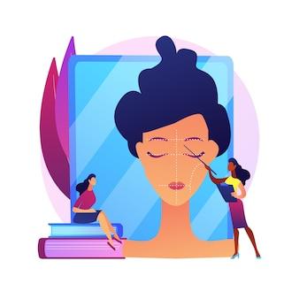 Cursos de maquillaje profesional. taller de salón de belleza, tutorial de rostro, clase de cosmetología. maquilladora docente en prácticas, estudiante de consultoría.