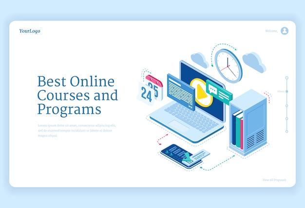 Cursos y programas en línea, equipos de página de destino isométrica para educación a distancia y estudios en internet.