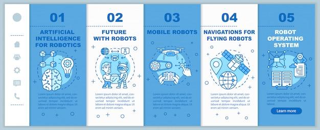 Cursos de robótica incorporando plantilla de páginas web móviles. automatización. idea de interfaz de sitio web de teléfono inteligente sensible con ilustraciones lineales. pantallas paso a paso de la página web. concepto de color