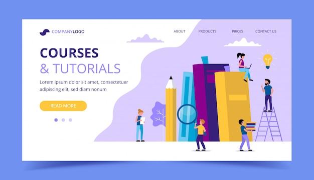 Cursos y tutoriales, aprendizaje de la página de destino con libros, lápiz, personajes de personas pequeñas que realizan diversas tareas.