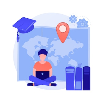 Cursos universitarios a distancia. título académico, autoeducación, clases de internet. lecciones escolares en línea, e learning. personaje de dibujos animados de estudiante universitario