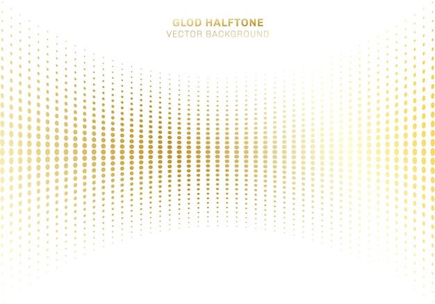 Curva abstracta patrón de puntos de oro de semitono