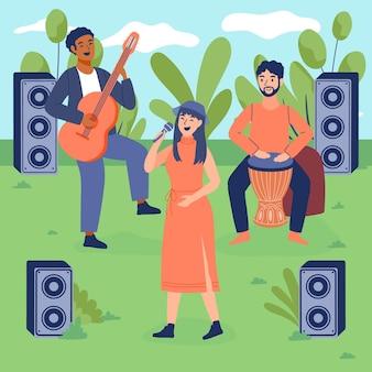 Curva ilustrada con un concierto al aire libre.