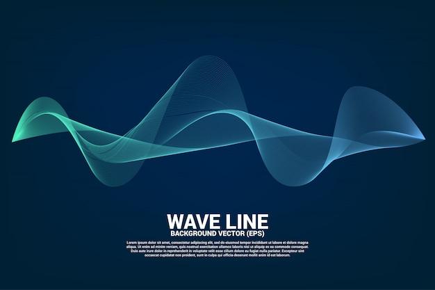 Curva de línea de onda de sonido azul sobre fondo oscuro