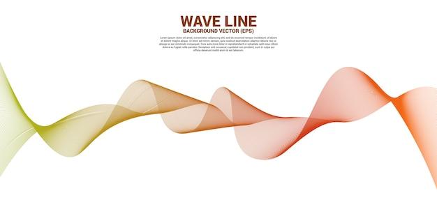 Curva de línea de onda de sonido azul verde sobre fondo blanco