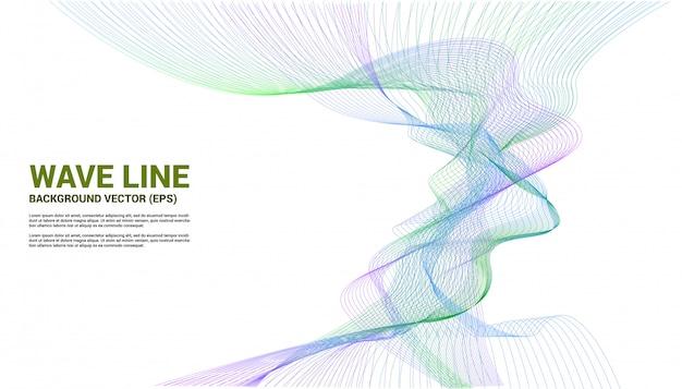 Curva de línea de onda de sonido azul y verde sobre fondo blanco