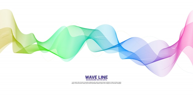 Curva de línea de onda de sonido púrpura y azul sobre fondo blanco. elemento para vector de tecnología temática futurista