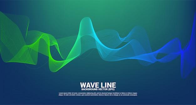 Curva de línea de onda de sonido verde y azul sobre fondo oscuro. elemento para vector futurista de tecnología de tema