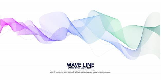 Curva de línea de onda de sonido verde púrpura sobre fondo blanco