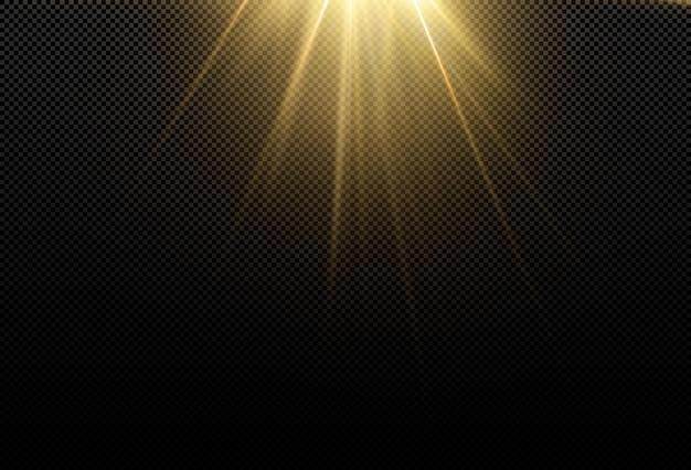 Curva de luz realista. efecto de brillo dorado brillante mágico. potente flujo de energía de energía luminosa.