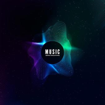 Curva de onda de sonido radial con partículas de luz. visualización de ecualizador colorido. cubierta colorida abstracta para carteles de música y pancartas. antecedentes