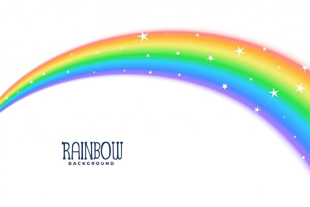 Curva ondulada arco iris con fondo de estrellas