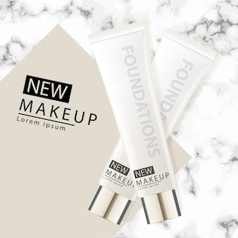 Cushion foundation makeup, un atractivo producto de maquillaje con fondo de mármol texturizado.