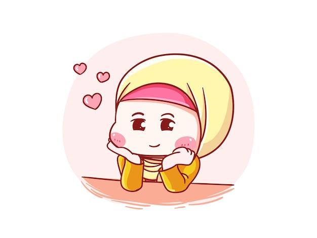 Cute and kawaii hijab girl fall in love manga chibi ilustración