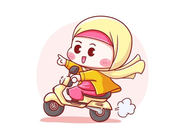 Cute and kawaii hijab girl with straw hat riding scooter para entrega manga chibi ilustración