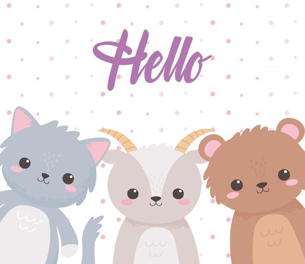 Cute animales cabra oso y gato hola inscripción tarjeta de dibujos animados ilustración vectorial