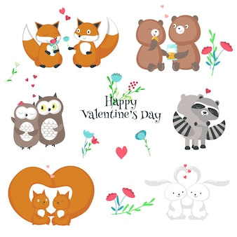 Cute animales felices parejas ilustración aislada