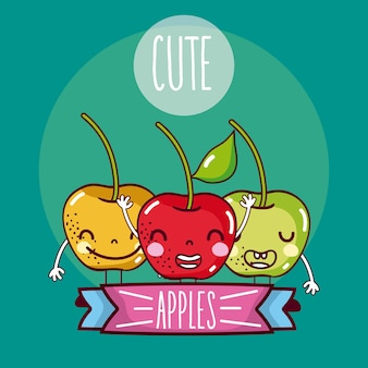 Cute apple friends frutas dibujos animados