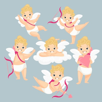 Cute baby amurs set love cupidos personajes de dibujos animados con alas y flechas rosadas volando en las nubes