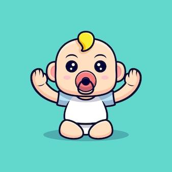 Cute baby quiere que lo carguen. ilustración de personaje de icono