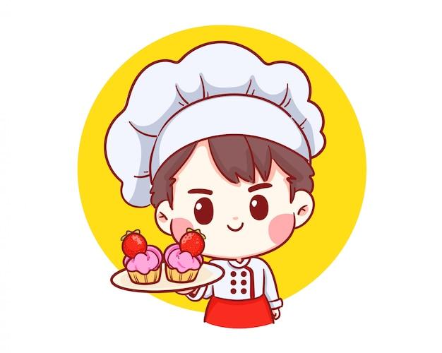 Cute bakery chef boy holding tarta de fresa sonriente logotipo de ilustración de dibujos animados arte.