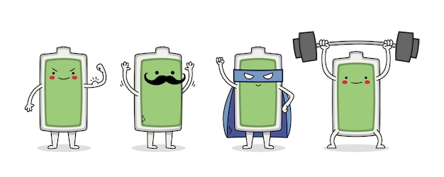 Cute battery cartoon character set 1 músculo, bigote, superhéroe y levantamiento de pesas