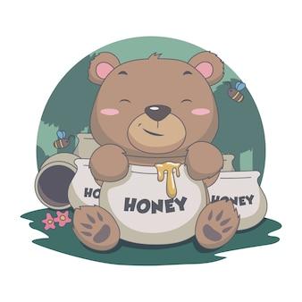 Cute bear eat sweet honey, con abeja, flor, bosque