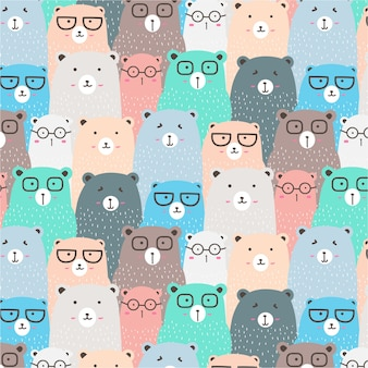 Cute bears vector pattern background.