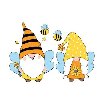 Cute bee gnomes happy bee gnome vector dibujado a mano ilustración