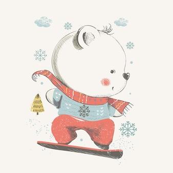 Cute beear snowboardinghand drawn se puede utilizar para camisetas de bebé, estampado de moda, diseño de impresión para niños