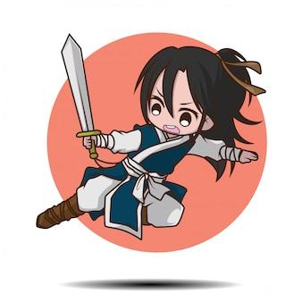 Cute boy dibujos animados en traje de battle master chino.