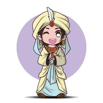 Cute boy en dibujos animados de traje de príncipe árabe