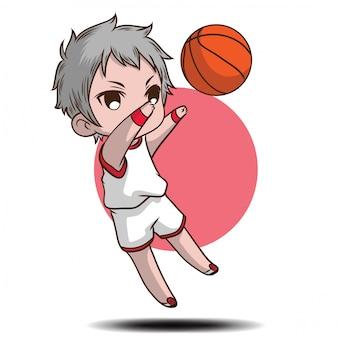 Cute boy jugar personaje de dibujos animados de baloncesto.