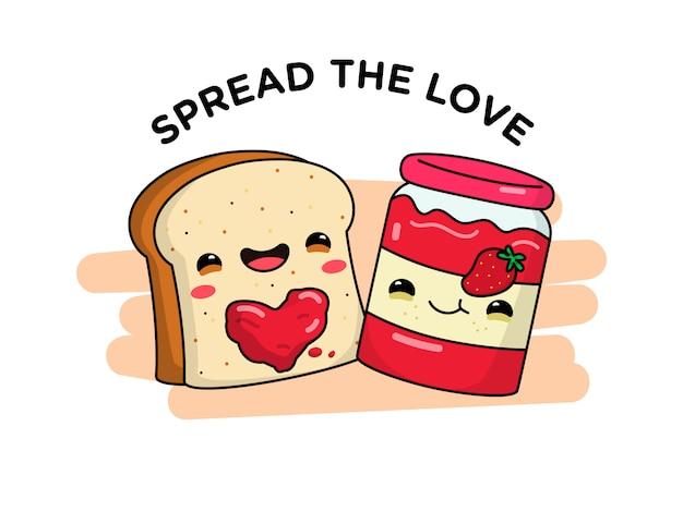 Cute bread and jam spread the love
