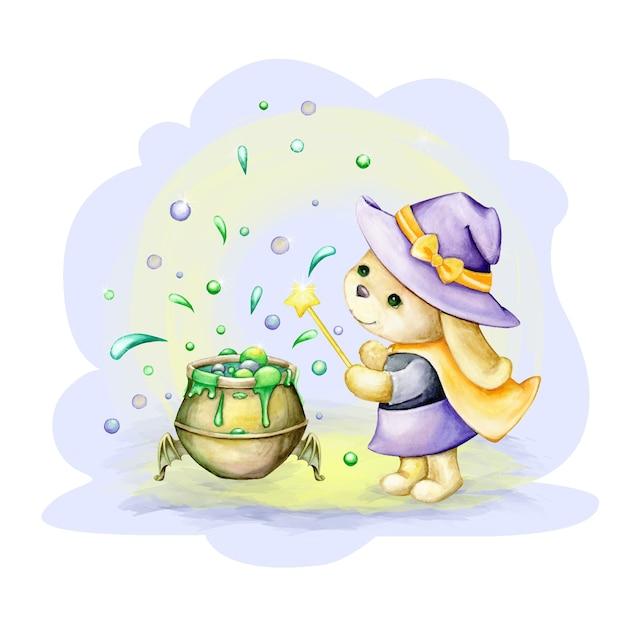 Cute bunny, vestido de bruja, se encuentra cerca de la olla de poción. imágenes prediseñadas de acuarela, en estilo de dibujos animados, para la fiesta de halloween.