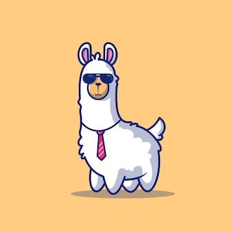 Cute business llama icono ilustración. personaje de dibujos animados de mascota de alpaca. concepto de icono animal aislado