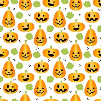 Cute calabazas de halloween de patrones sin fisuras.