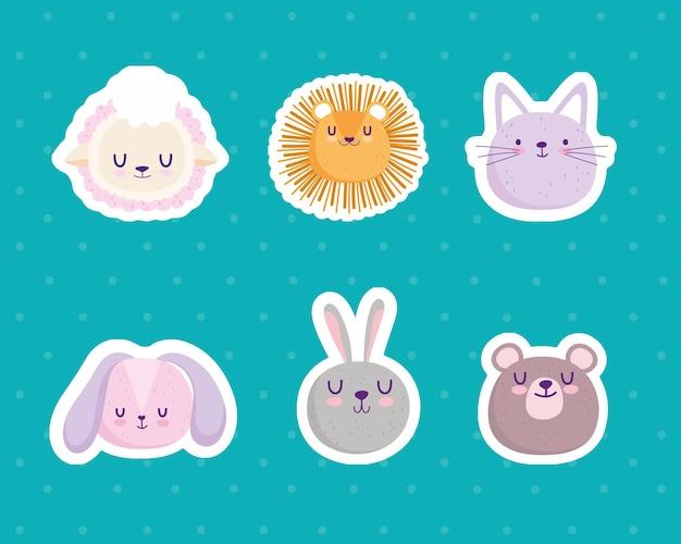 Cute caras león conejo oso oveja gato dibujos animados pegatinas vector ilustración