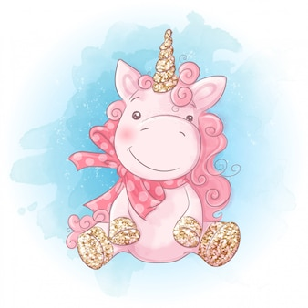 Cute cartoon unicorn sobre un fondo de acuarela