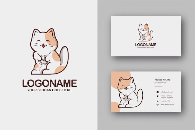 Cute cat logo y tarjeta de visita