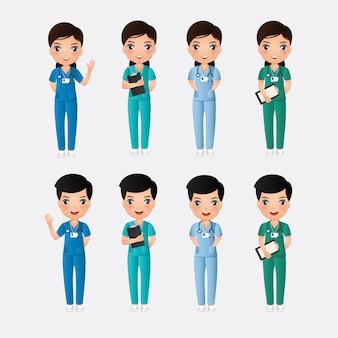 Cute catoon chaacter de enfermeras y enfermeras sobre un fondo blanco.