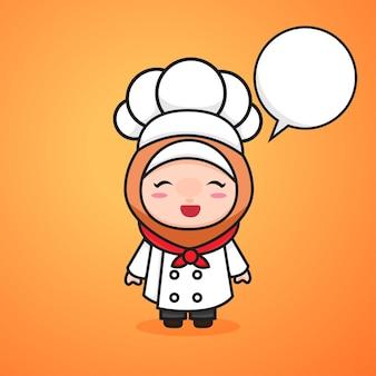 Cute chibi kawaii muslimah girl chef dibujos animados estilo lineart