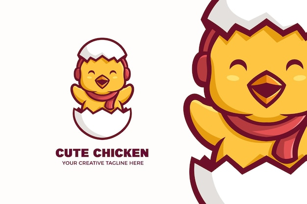 Cute chick hatches from egg mascot character logo