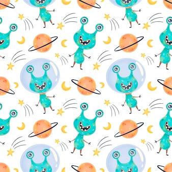 Cute dibujos animados alienígenas de patrones sin fisuras. patrón ovni. patrón sin fisuras de monstruos lindos.