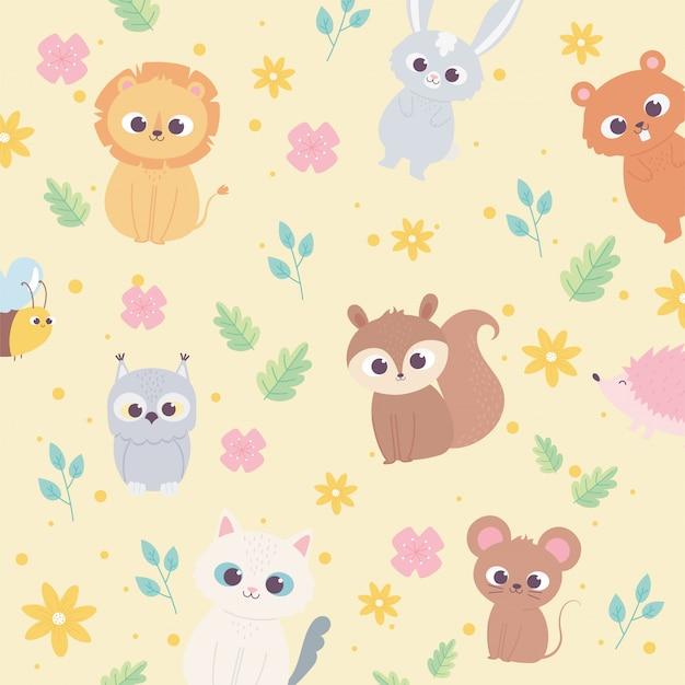 Cute dibujos animados animales salvaje pequeño león ardilla oso mapache gato flores follaje