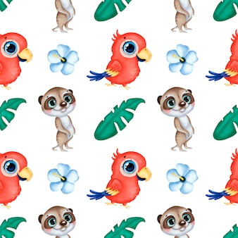 Cute dibujos animados animales tropicales de patrones sin fisuras. loro guacamayo, suricata, flores de hibisco y hojas de palma sin patrón.