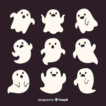 Cute dibujos animados blanco smiley halloween fantasmas