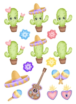 Cute dibujos animados de cactus mexicanos con corazones, sombrero, guitarra y maracas en un fondo blanco