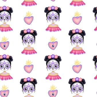 Cute dibujos animados calavera mexicana de patrones sin fisuras. niña mexicana de dibujos animados con maquillaje de calavera de azúcar, corazón mexicano tradicional con fuego y ojo